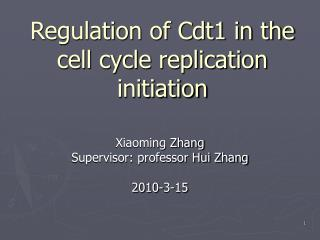 Regulation of Cdt1 in the cell cycle replication initiation