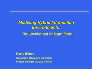 Modeling Hybrid Information Environments: