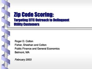 Zip Code Scoring:  Targeting EITC Outreach to Delinquent  Utility Customers