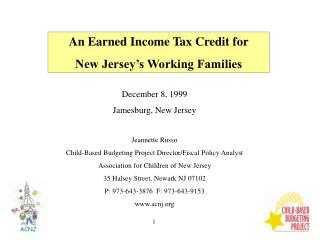 December 8, 1999 Jamesburg, New Jersey Jeannette Russo