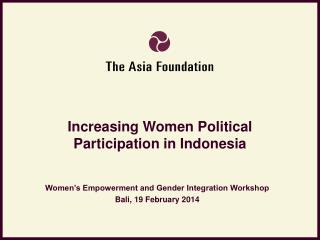 Increasing Women Political Participation in Indonesia