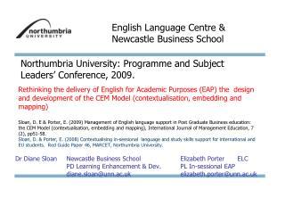 Dr Diane Sloan Newcastle Business SchoolElizabeth PorterELC