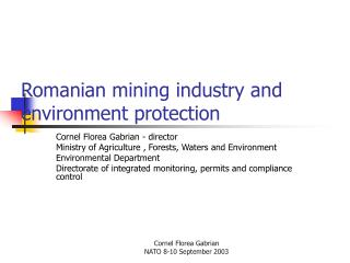 Romanian mining industry and environment protection