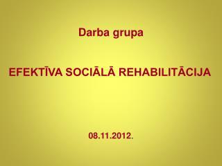 Darba grupa  EFEKTĪVA SOCIĀLĀ REHABILITĀCIJA 08.11.2012 .