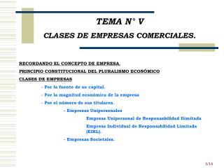 TEMA N° V CLASES DE EMPRESAS COMERCIALES.