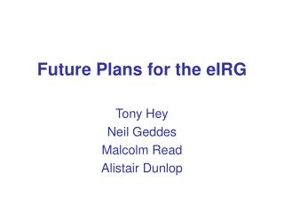 Future Plans for the eIRG