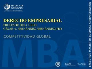 DERECHO EMPRESARIAL PROFESOR DEL CURSO:  CÉSAR A. FERNÁNDEZ FERNÁNDEZ; PhD