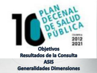 Objetivos Resultados de la Consulta ASIS Generalidades Dimensiones