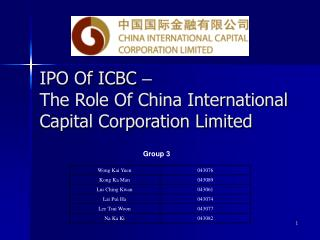 IPO Of ICBC  – The Role Of China International Capital Corporation Limited