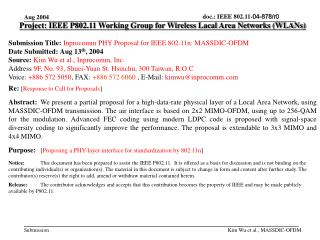 Project: IEEE P802.11 Working Group for Wireless Lacal Area Networks (WLANs)