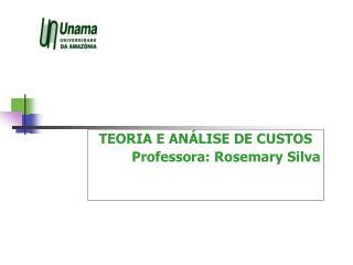 TEORIA E ANÁLISE DE CUSTOS Professora: Rosemary Silva