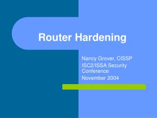 Router Hardening