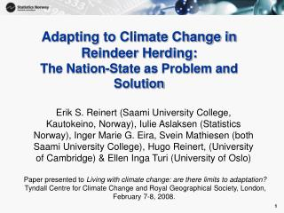 Adapting to Climate Change in Reindeer Herding: The Nation-State as Problem and Solution