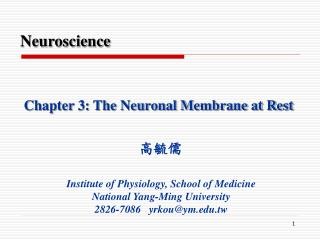 Chapter 3: The Neuronal Membrane at Rest