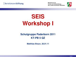 SEIS  Workshop I