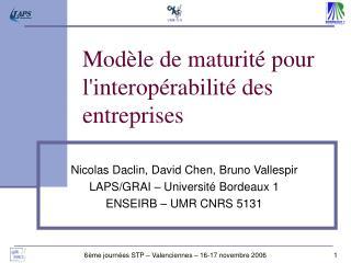 Modèle  de maturité pour l'interopérabilité des  entreprises