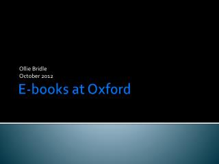 E-books at Oxford