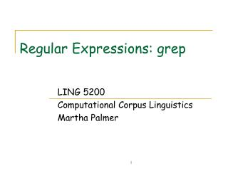 Regular Expressions: grep