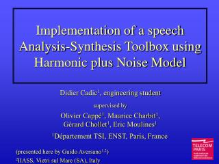 Implementation of a speech Analysis-Synthesis Toolbox using Harmonic plus Noise Model