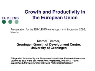 Growth and Productivity in the European Union