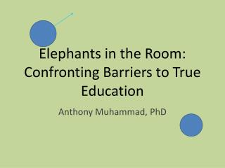 Elephants in the Room: Confronting Barriers to True Education