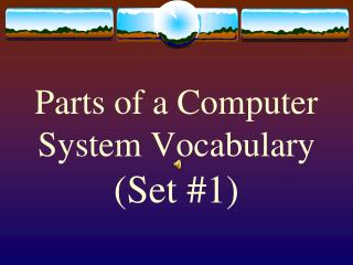 Parts of a Computer System Vocabulary (Set #1)