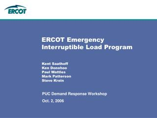 ERCOT Emergency Interruptible Load Program