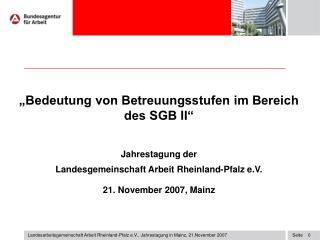 """""""Bedeutung von Betreuungsstufen im Bereich des SGB II"""" Jahrestagung der"""