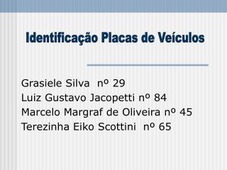 Grasiele Silva  nº 29 Luiz Gustavo Jacopetti nº 84 Marcelo Margraf de Oliveira nº 45