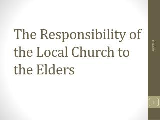 The Responsibility of the Local Church to the Elders