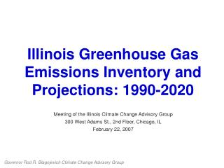 Illinois Greenhouse Gas Emissions Inventory and Projections: 1990-2020