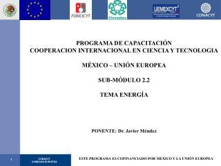 PROGRAMA DE CAPACITACIÓN COOPERACION INTERNACIONAL EN CIENCIA Y TECNOLOGIA MÉXICO – UNIÓN EUROPEA