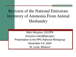 Revision of the National Emissions Inventory of Ammonia From Animal Husbandry