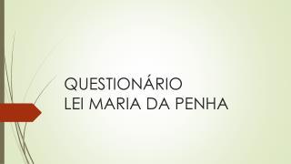 QUESTIONÁRIO  LEI MARIA DA PENHA
