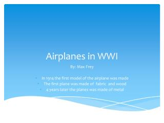Airplanes in WWI