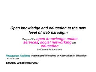 Open knowledge and education at the new level of web paradigm
