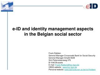 e-ID and identity management aspects in the Belgian social sector