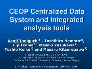 CEOP Centralized Data System and integrated analysis tools