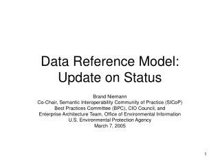 Data Reference Model: Update on Status