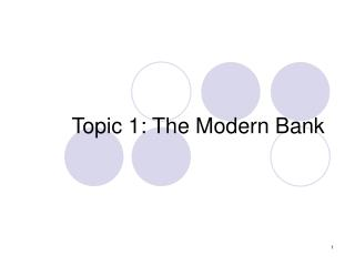 Topic 1: The Modern Bank