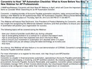 "Corcentric to Host ""AP Automation Checklist: What to Know Be"