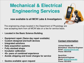 Mechanical & Electrical Engineering Services now available to all MCW Labs & Investigators
