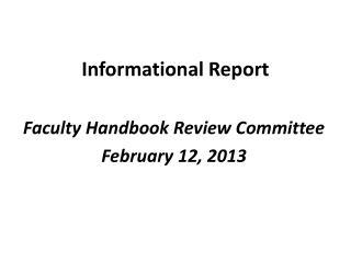 Informational Report