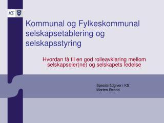 Kommunal og Fylkeskommunal selskapsetablering og selskapsstyring