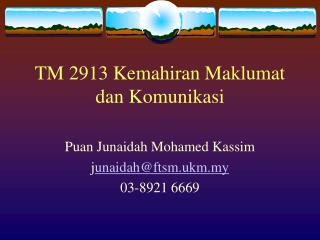 TM 2913 Kemahiran Maklumat dan Komunikasi