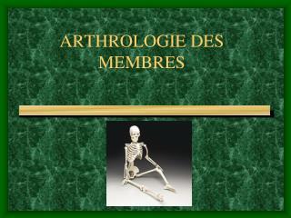 ARTHROLOGIE DES MEMBRES