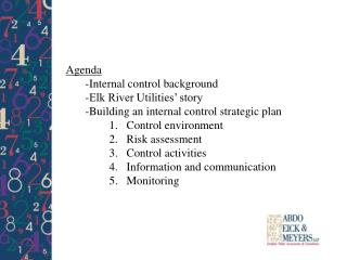 Agenda -Internal control background -Elk River Utilities' story