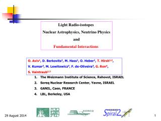 Light Radio-isotopes  Nuclear Astrophysics, Neutrino Physics and Fundamental Interactions