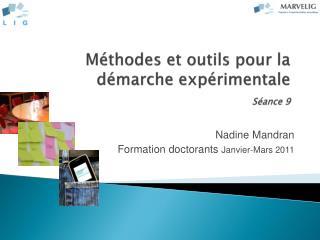 Méthodes et outils pour la démarche expérimentale Séance 9