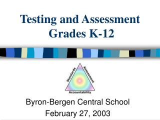 Testing and Assessment  Grades K-12